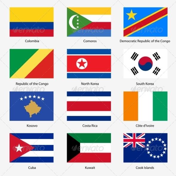 GraphicRiver Flag Set of World Sovereign States 6863601