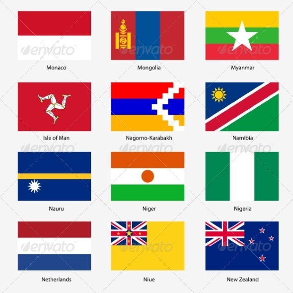 GraphicRiver Flag Set of World Sovereign States 6863604