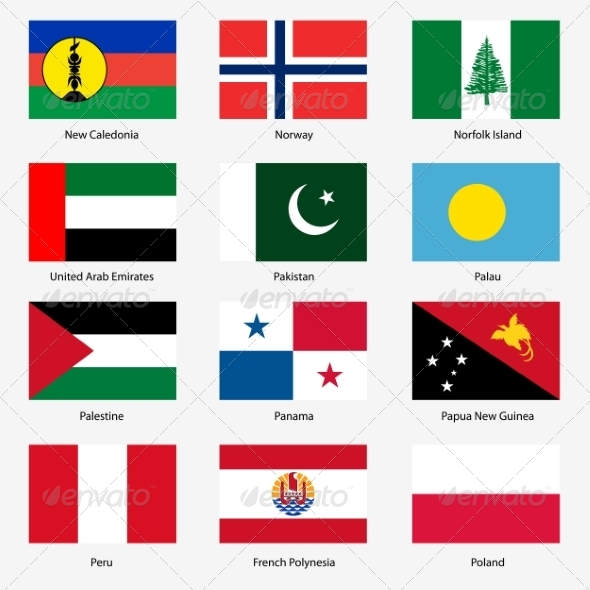 GraphicRiver Flag Set of World Sovereign States 6863605