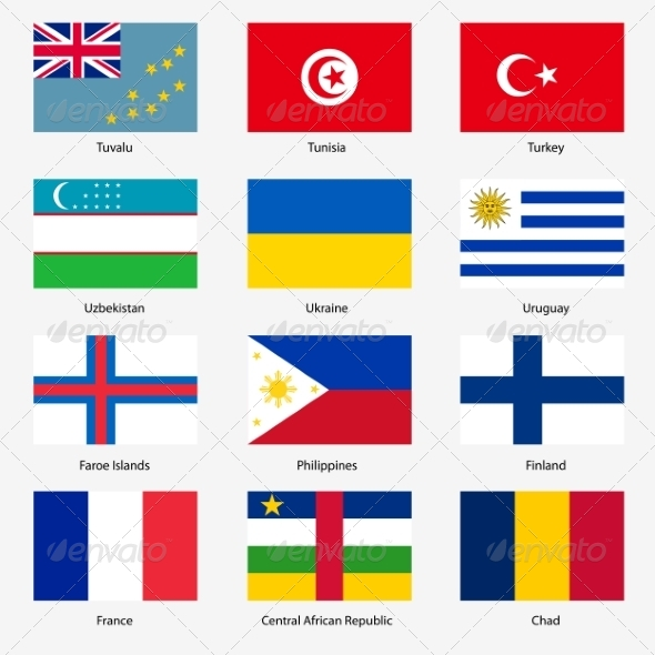 GraphicRiver Flag Set of World Sovereign States 6863611