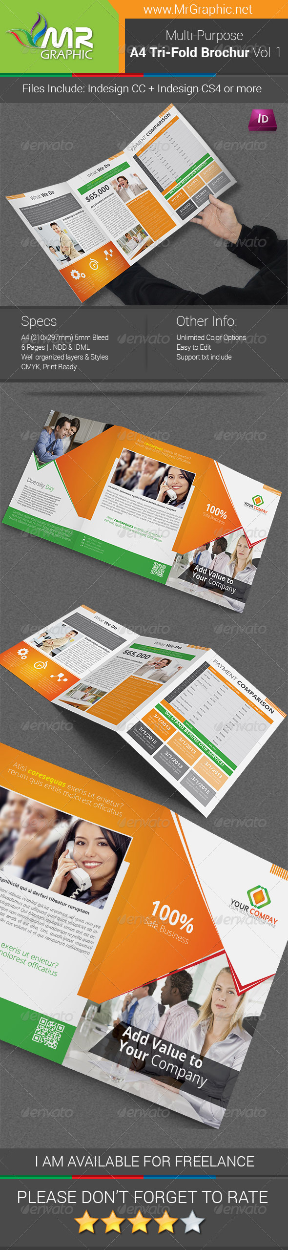 GraphicRiver Multipurpose A4 Tri-Fold Brochure Template Vol-1 6863613