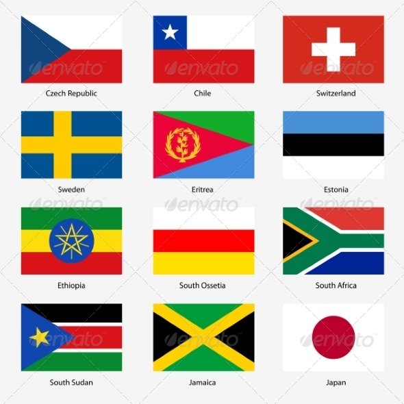 GraphicRiver Flag Set of World Sovereign States 6863624