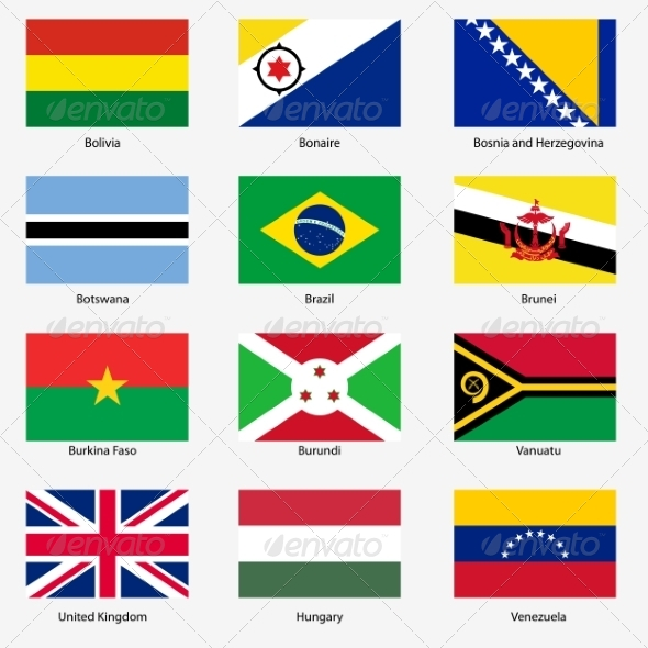 GraphicRiver Flag Set of World Sovereign States 6863651