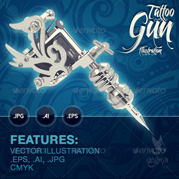 GraphicRiver Tattoo Gun Illustration 6864067