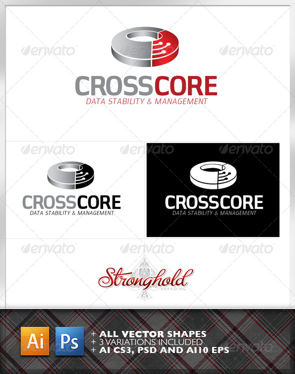 GraphicRiver Cross Core Data Technology Logo Template 6855617