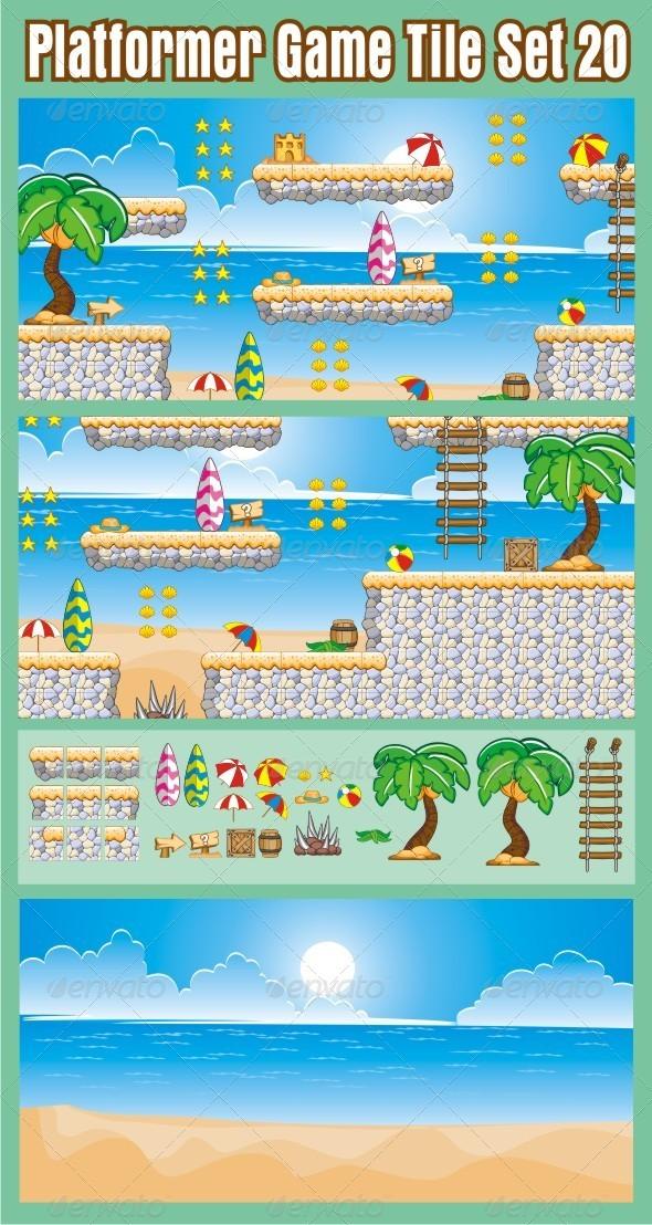 GraphicRiver Platformer Game Tile Set 20 6864318