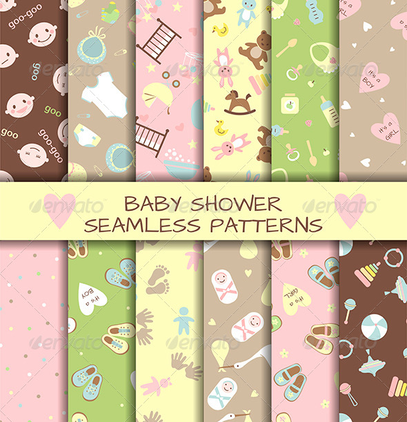 GraphicRiver Set of Baby Shower Seamless Patterns 6864386