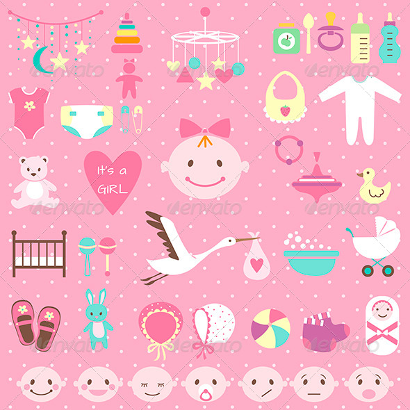 GraphicRiver Baby Shower Set for Girl 6864556