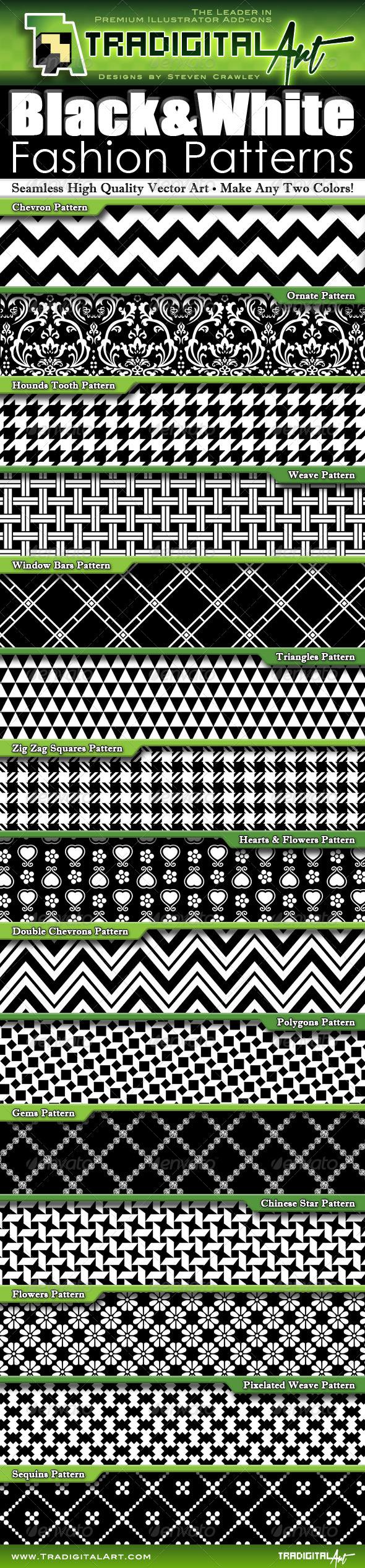 GraphicRiver Black & White Fashion Patterns 6864594