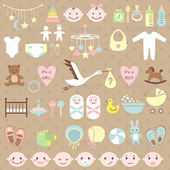 GraphicRiver Set of Baby Shower Elements 6864742