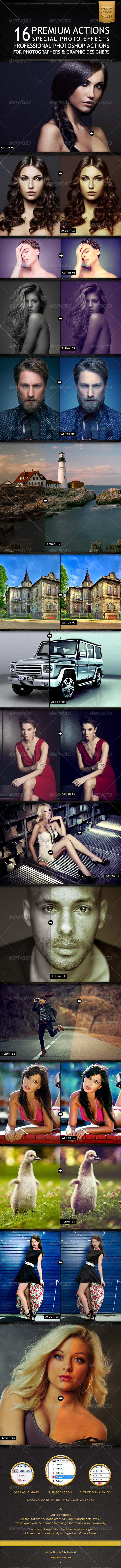 GraphicRiver 16 Premium Actions Set 6864950