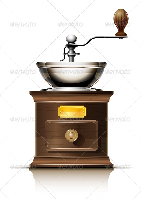 GraphicRiver Classic Coffee Grinder in Wooden Case 6865159