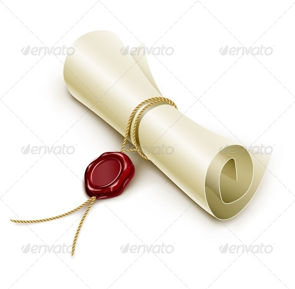 GraphicRiver Scroll Paper with Seal of Sealing Wax 6865174