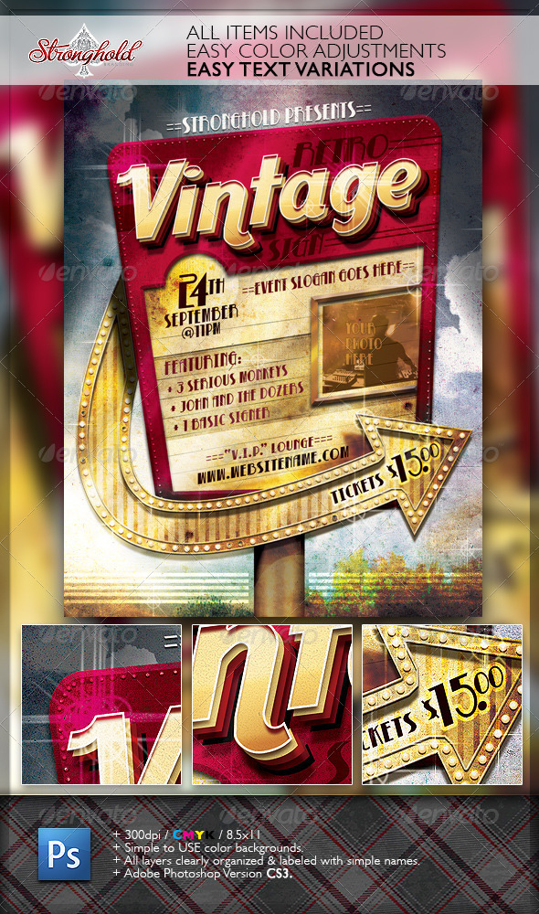 GraphicRiver Retro Vintage Sign Event Flyer Template 6865283