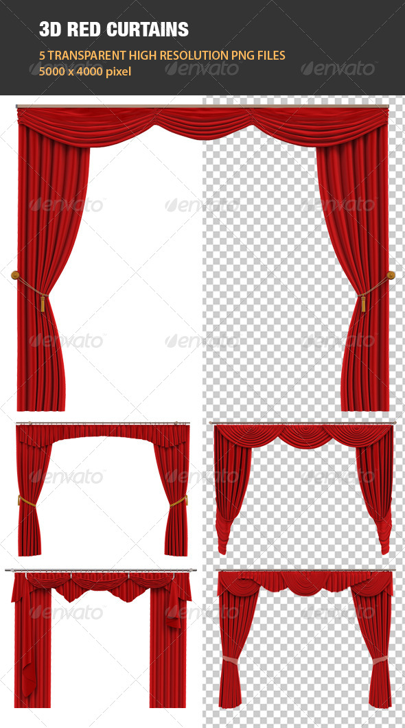 GraphicRiver 3D Red Curtains 6865306