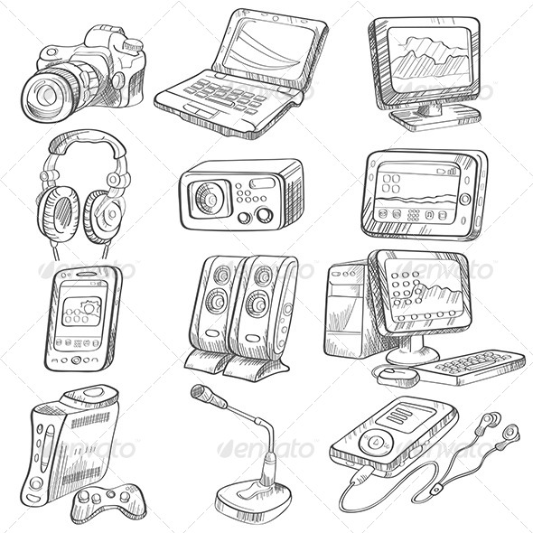 GraphicRiver Pencil Drawing of Electronic Gadget 6865403