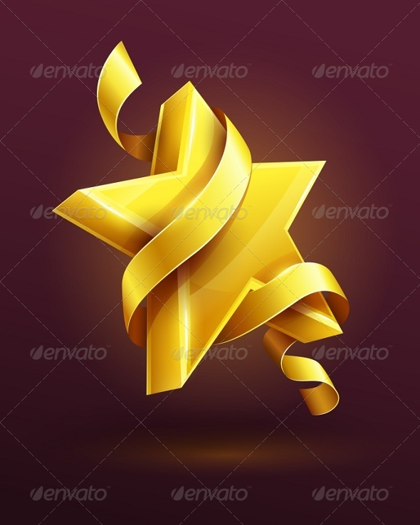 Gold Star with Ribbon