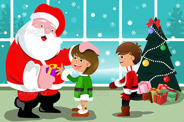 GraphicRiver Little Kids with Santa Claus 6865413