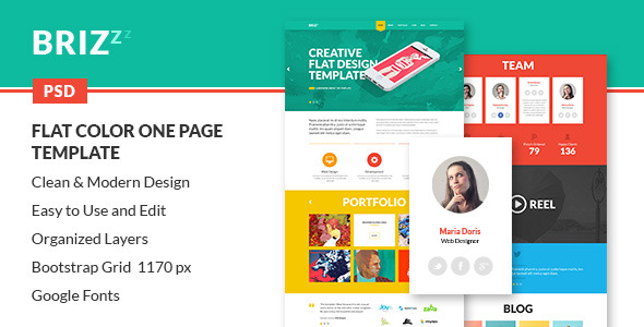BRIZZZ - Flat Modern One Page Template