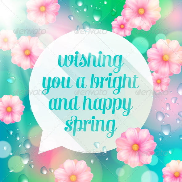 GraphicRiver Abstract Speech Bubble Banner with Spring Greeting 6866420