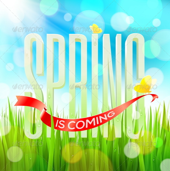 GraphicRiver Spring Greeting Letters on a Sunny Landscape 6866956