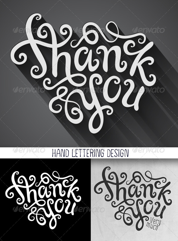 GraphicRiver Thank You Hand Lettering Set 6866998
