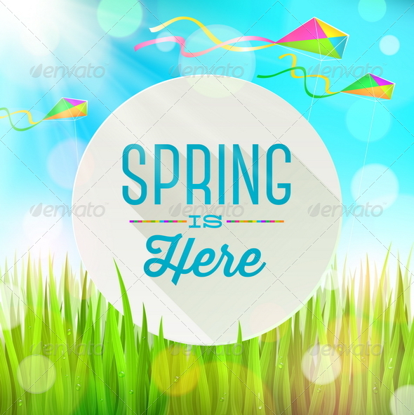 GraphicRiver Spring Greeting Banner on a Sunny Landscape 6867228