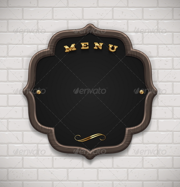 Menu Chalkboard in Wooden Frame on Brick Wall