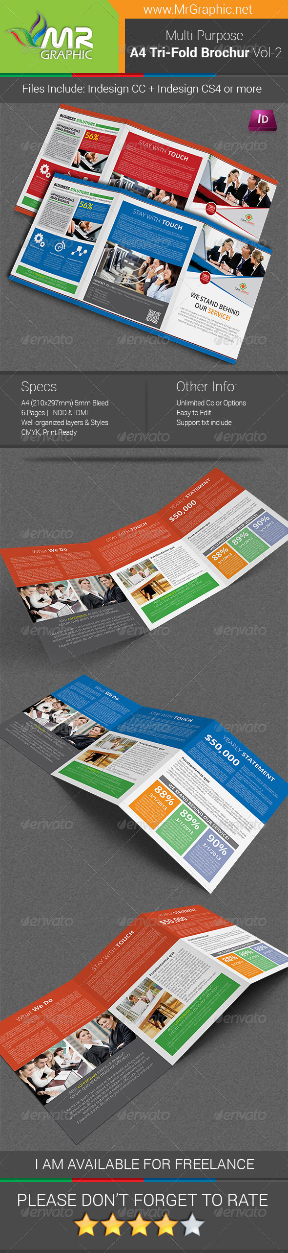Multipurpose A4 Tri-Fold Brochure Template Vol-2