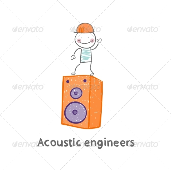 Acoustic Engineer Standing on a Large Column