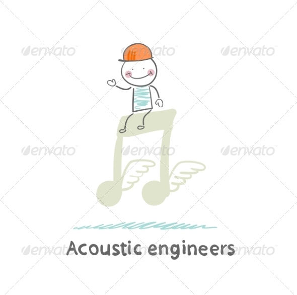 GraphicRiver Acoustic Engineer Sitting on a Big Note 6867676