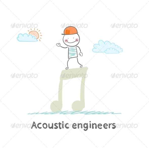 GraphicRiver Acoustic Engineer Standing on a Big Note 6867679