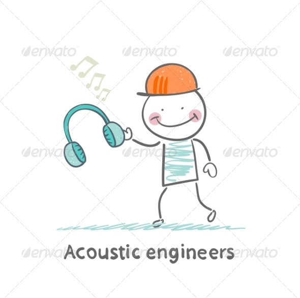 GraphicRiver Acoustic Engineer Holding Headphones 6867684