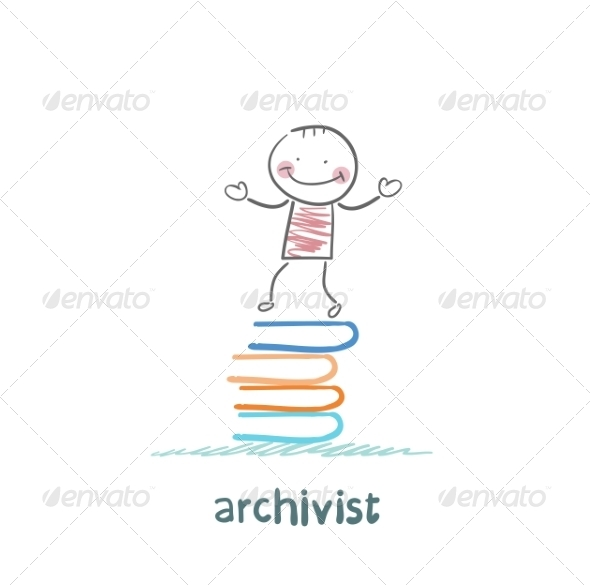 GraphicRiver Archivist Stands on a Pile of Books 6867685