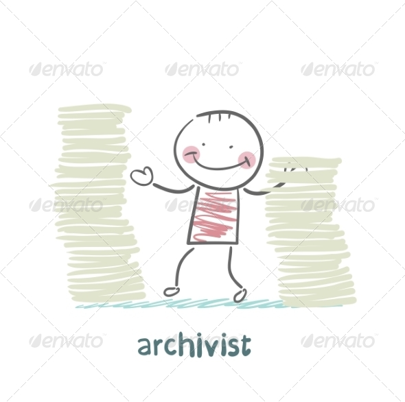 GraphicRiver Archivist is Standing Near the Pile of Papers 6867697