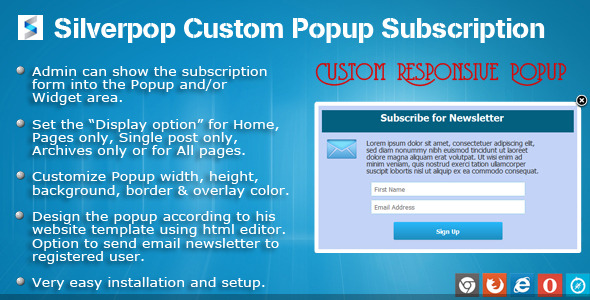 "If this plugin is useful, could you please help us to rate it? it will be a big encouragement to improve for us. SilverPop Custom Popup Subscription ""Sil"
