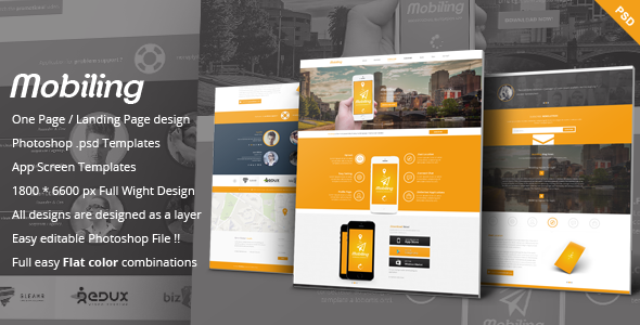 ThemeForest Mobiling One Page App Landing Page 6867802