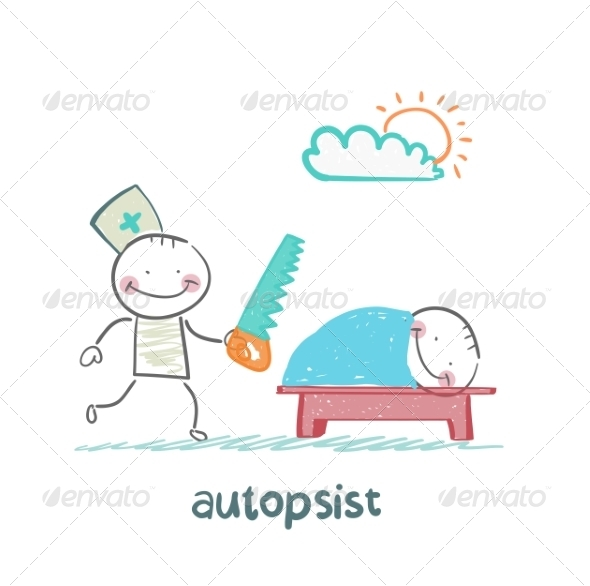 GraphicRiver Autopsist with a Saw at Work 6867853