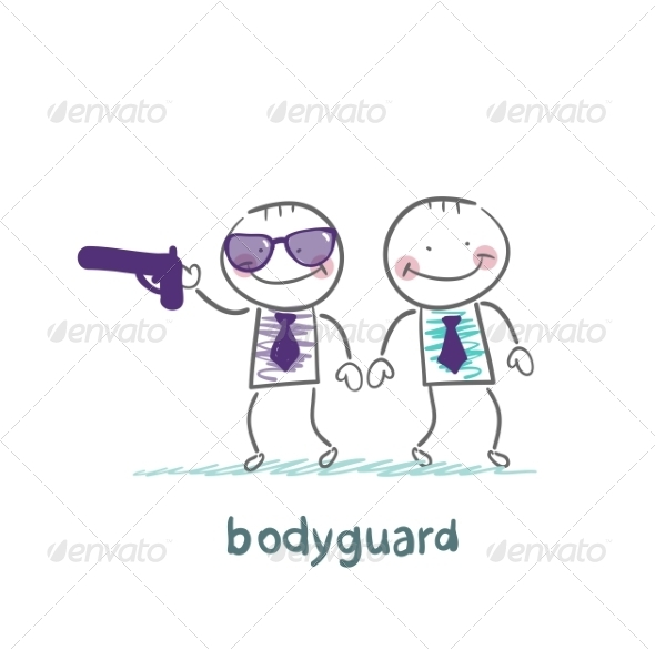 GraphicRiver Bodyguard Protects with Gun 6867857