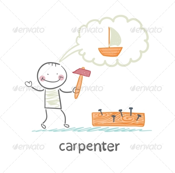 GraphicRiver Carpenter Hammering Nails into a Board 6867895