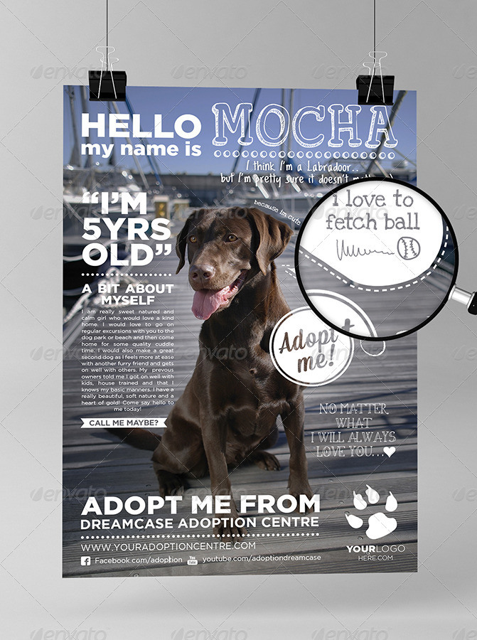 Animals adopt me flyer by dreamcase graphicriver for Dog adoption flyer template
