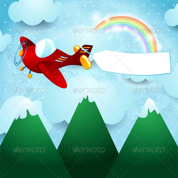 GraphicRiver Airplane and Banner over the Mountain 6868491