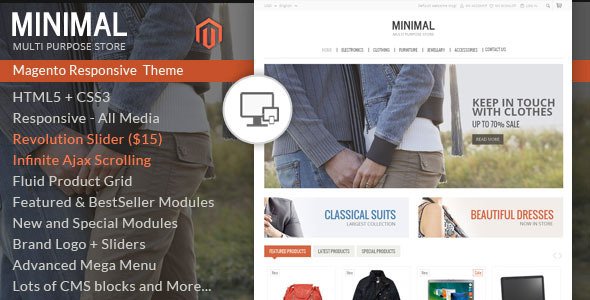 ThemeForest Minimal Multi Purpose Responsive Magento Theme 6868571