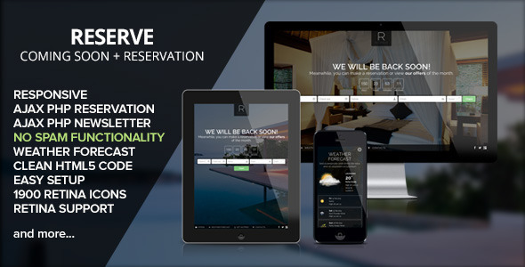 ThemeForest RESERVE- Coming soon with Reservation 6868705