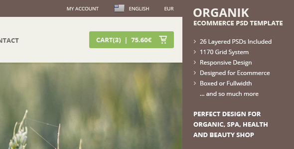 ORGANIK - Responsive Ecommerce PSD Template - Food Retail