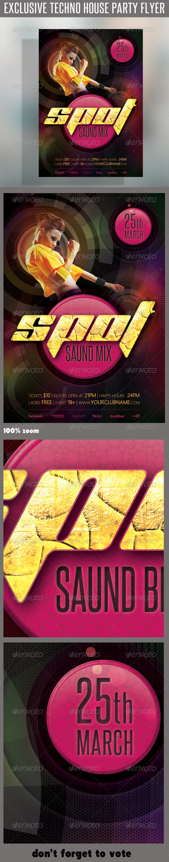 GraphicRiver Techno House Flyer 04 6859446