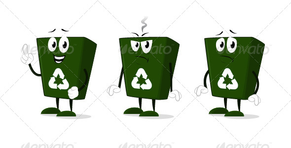 GraphicRiver Recycle Bin Cartoon Characters 6869262