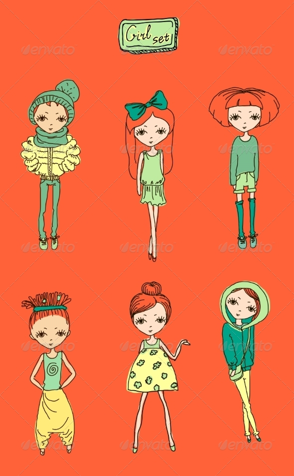 GraphicRiver Set of Girls 6869411