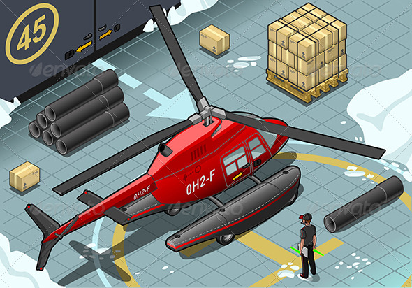 GraphicRiver Isometric Arctic Emergency Helicopter Landed 6869481