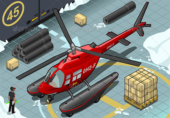 GraphicRiver Isometric Arctic Emergency Helicopter Landed 6869712